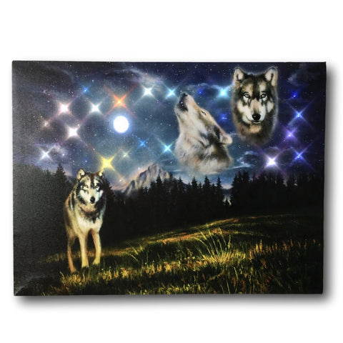 Wolf Canvas Print - Wolves Howling at the Moon - LED Lighted Pictures of Wolves in a Nights Sky - 3 Wolves at Night with a Northern Lights Background