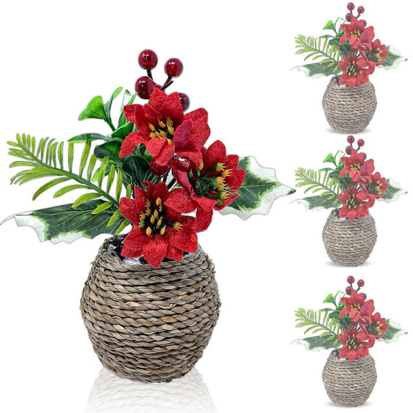 Poinsettia and Holly Berries Silk Flower Arrangements- Set of 4 Realistic Red Christmas Flowers in Decorative Planters- Holiday Home Decor