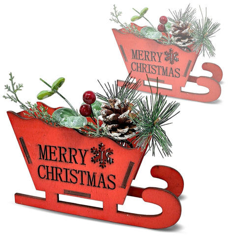 BANBERRY DESIGNS Merry Christmas Red Sleigh Decoration - Set of 2 (3449)