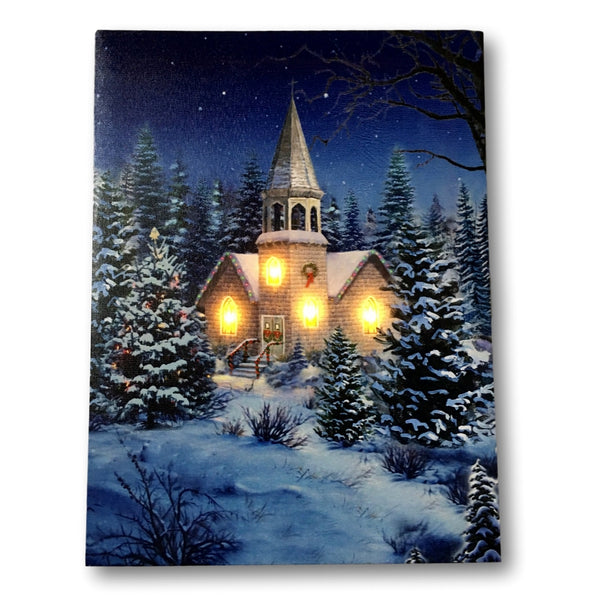 Christmas Wall Art - Church at Night Picture with Fiber Optic and LED Lights - Winter Scene Canvas Print