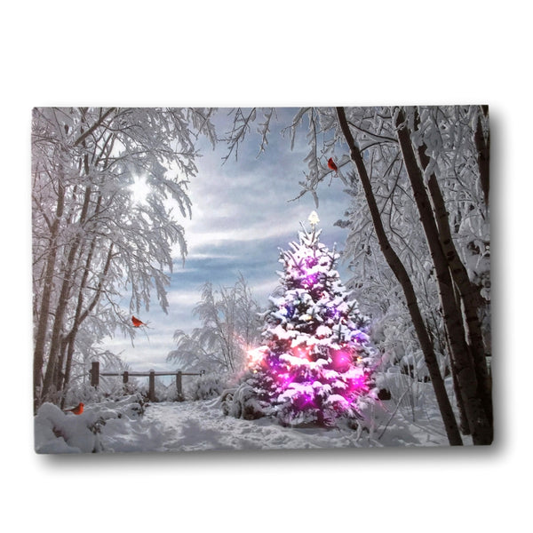 Winter Scene Wall Art - Light Up Picture with Cardinals and Christmas Trees - Snowy Day in the Woods