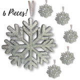 "Silver Snowflakes - Set of 6 Silver Glittered Snowflake Ornaments - Approximately 9"" In Diameter - Silver Glittered Decorations"