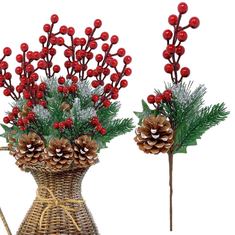 Pine Holly Flower Picks 10 Pieces – Snow Flocked Red Holly Berry Pinecones (3429)