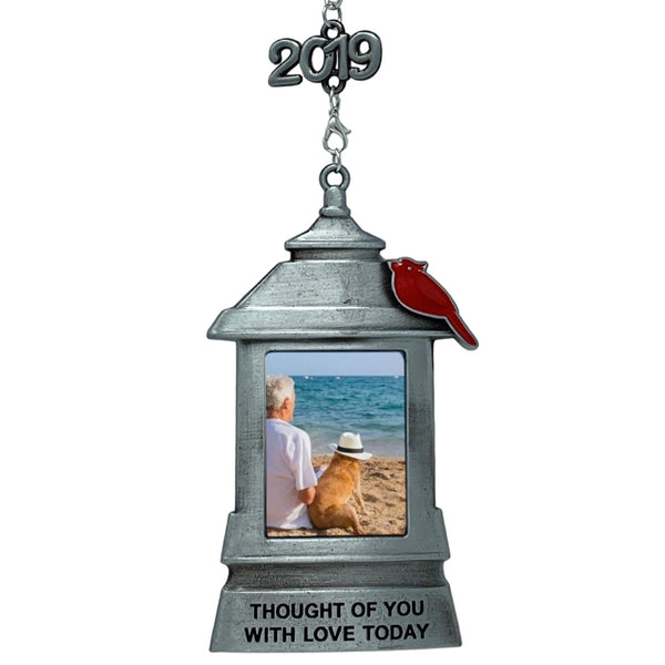 Memorial Christmas Lantern Ornament Frame – Thought of You with Love Today Saying Hanging Picture Ornament - Bereavement Cardinal Keepsake Photo Holder