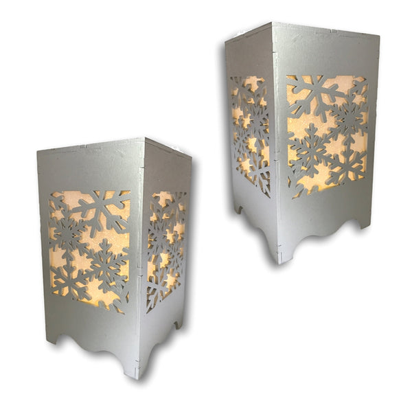 Christmas Lights - Silver Snowflake Design with Cut-Out Sides and LED Illuminated Lights Inside - Snowflake Decorations