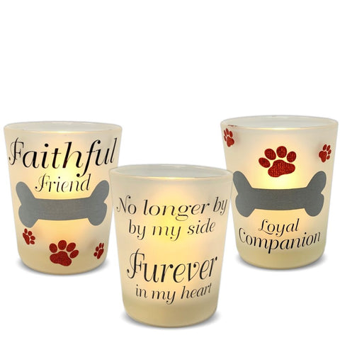 Pet Memorial LED Candle Set - 3 Votive Candle Holders with Pet Memorial Saying