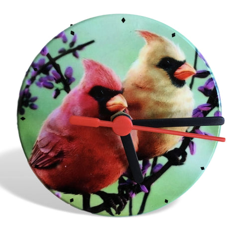 "Cardinal Clock - 4 1/4"" Round Desktop Clock with a Pair of Cardinals on Purple Branches - Battery Operated(2218)"