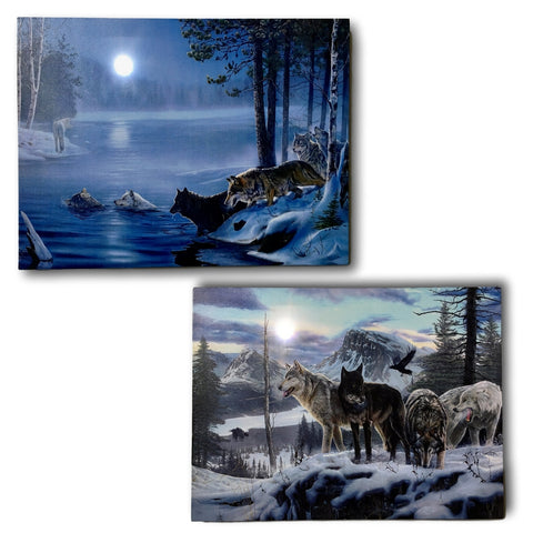 Wolf Prints - Set of 2 Lighted Wolfe Pictures with LED and Fiber Optic Lights