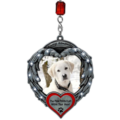 Pet Memorial Photo Ornament - Angel Wings Picture Christmas Ornament – Pet Sympathy Gifts – Keepsake Loss of a Pet Ornament