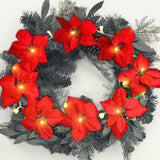 Poinsettia Flower Lighted Garland –Appro 90 Inches Red Poinsettias LED Lights - Christmas Decorations – Battery Operated Decorative Floral Accessories
