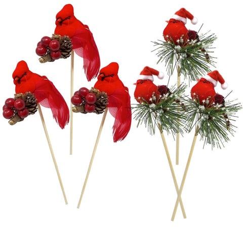 Red Cardinals Birds on a Stick - Assorted Style Cardinal Floral Picks - Set of 6 Birds Attached to Wooden Stems - Red Bird Centerpieces