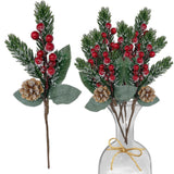 Pine Snowy Flower Picks 10 Pieces–Snow Flocked Red Holly Berry Pine Cone Holiday Floral Sprays Decoration 11 Inch Flexible Stems