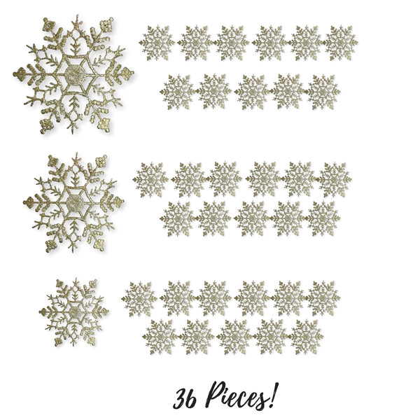 Gold Snowflake Ornaments - Set of 36 Assorted Sizes of Glitter Gold Shatterproof Snowflakes - Snowflake Ornaments - Gold Christmas Decorations