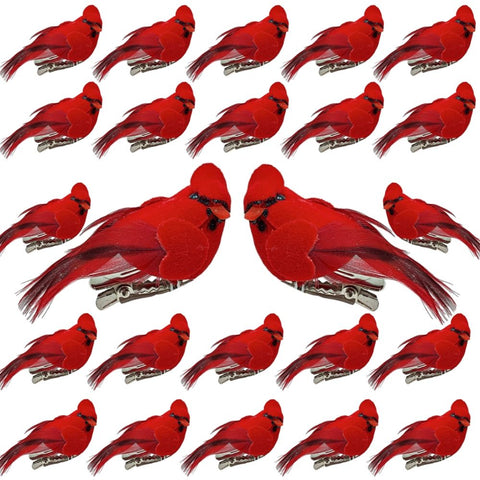 BANBERRY DESIGNS Cardinal Clip On Christmas Tree Ornaments-Bird Decorations - Clip-On Red Velvet & Feathers