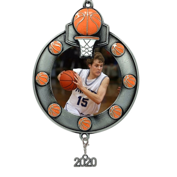 Basketball Picture Frame- Christmas Ornament Dated 2020 Keepsake - Sports Team Photo Holder Ornament