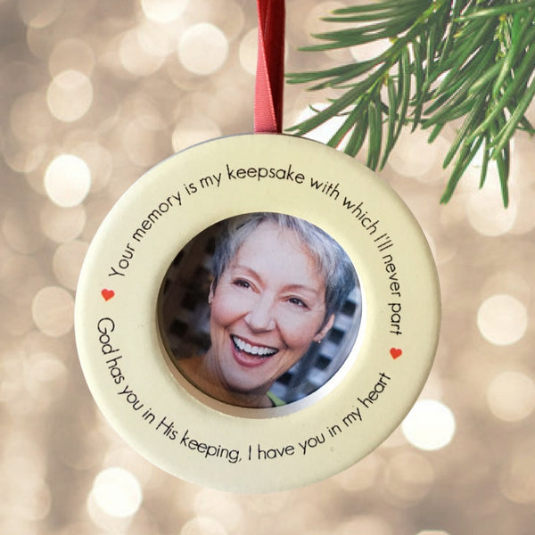 Memorial Christmas Ornament – In Loving Memory Keepsake Ornament with Easel Back