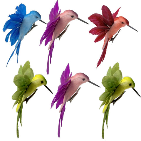 Hummingbird Clip on Ornaments -Assorted Colored Birds with Attached Clip Approx 4.5inches Wide - Craft Birds 6 Hummingbirds Decorations on Clips