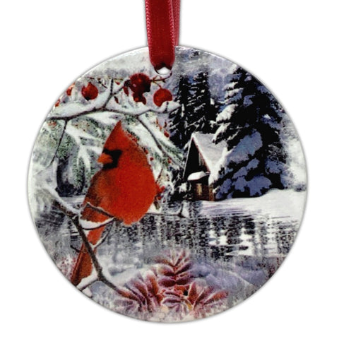2020 Merry Christmas Ornament - Winter and Berry Cardinal Design - Xmas Ceramic Disk Ornament Hanging(2245)