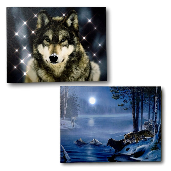 Wildlife Home Decor - Set of 2 Light Up Wolf Prints LED Canvas Pictures