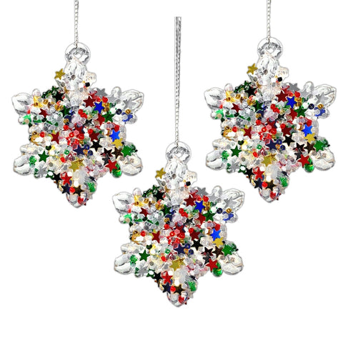 Glass Snowflakes Christmas Ornaments- Set of 3 Spun Glass Snowflakes with Confetti Glitter - Snowflake Decorations - Hanging Snowflake Ornaments