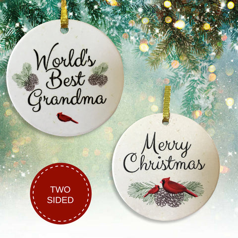 Grandma Christmas Ornament - World's Best Grandma Colorful Ceramic Xmas Ornament(2254)