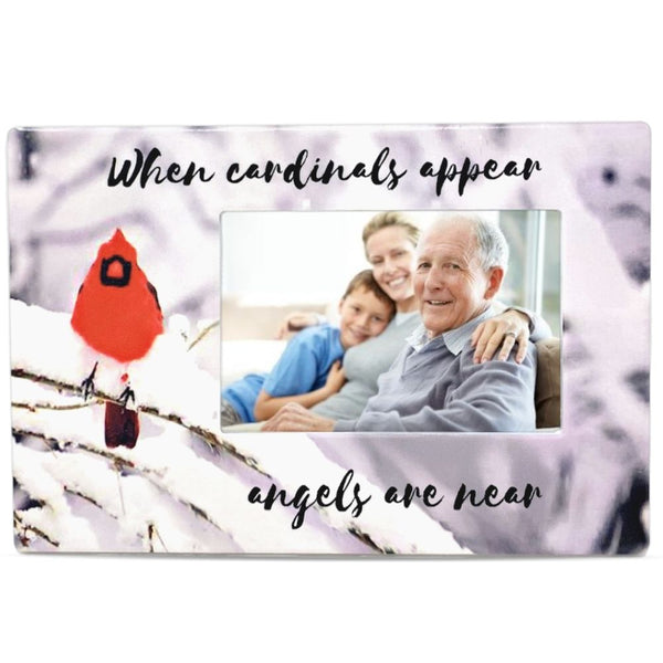 Memorial Cardinal Picture Frame - When Cardinals Appear Angels are Near - Ceramic Keepsake Plaque - Bereavement Gift - Sympathy