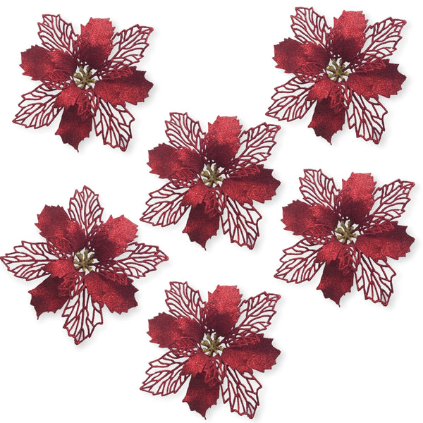 "Poinsettia Decorations - Set of 6 Large Poinsettia Flowers with Clips - Red Floral Ornaments - 6"" Red Poinsettias – Artificial Poinsettias"