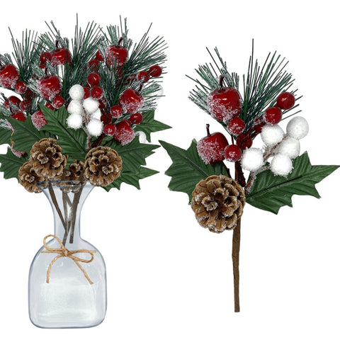 Pine Picks Set of 10 – Christmas Greenery Snow Flocked Pinecone Red Berries (3438)