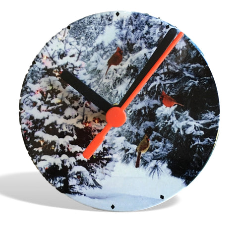 "Christmas Trees & Cardinal Birds Clock - 4 1/4"" Decorative Clock - Snowy Winter Forest Pine Trees and Cardinals"