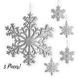 "Large Snowflakes - Set of Silver Glittered Snowflakes - Christmas Snowflake Ornaments Approximately 12"" In Diameter"