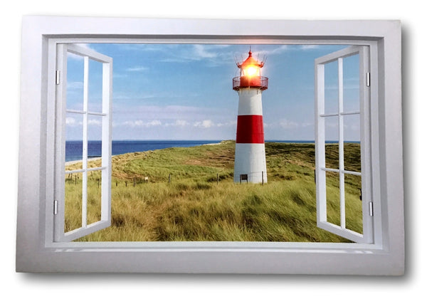 Lighthouse Canvas Print - LED Lighted Picture with a Window Scene - Nautical Artwork
