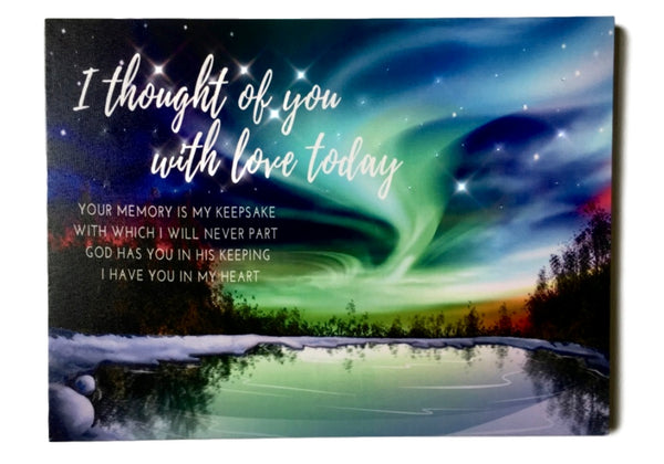 Memorial Wall Art - Lighted Canvas Print with LED and Fiber Optic Lights - I Thought of You with Love Today