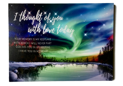 BANBERRY DESIGNS Memorial Wall Art - Lighted Canvas Print with LED and Fiber Optic Lights - I Thought of You with Love Today(2638)