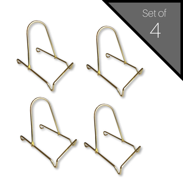 Adjustable Brass Metal Easels Display Plate Stand Holder - Set of 4