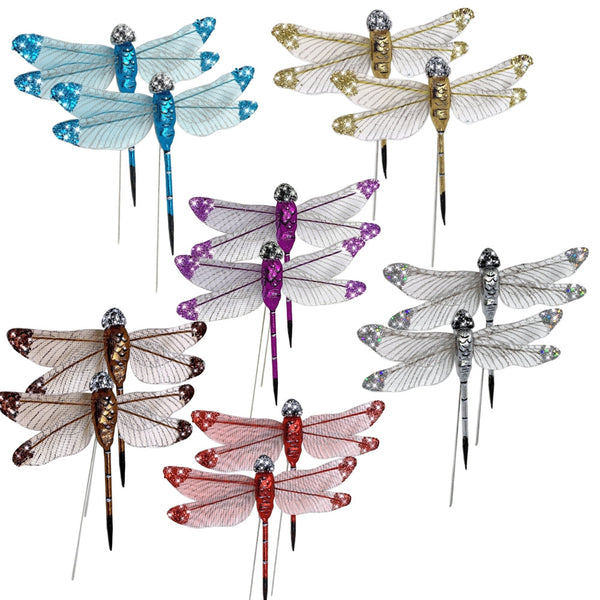 aft Dragonfly Set– Dragonfly Floral Picks -Multi Colored Glitter Dragon Flies Attached to Wire Stems - Set of 12