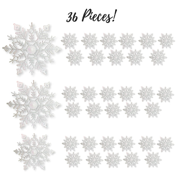White Snowflakes - Pack of 36 White Glittered Snowflake Ornaments - Assorted Sizes - Iridescent White Christmas Snow Flakes
