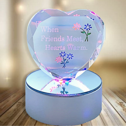 Friendship Gift - Glass Heart on LED Lighted Base