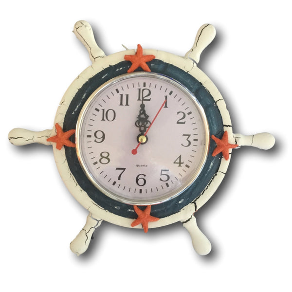 Beach Clock - Sailboat Steering Wheel Helm Decoration - Blue and White Clock with Starfish - Easel Back