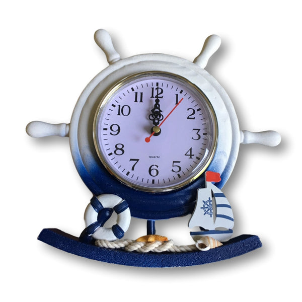 Nautical Clocks - Boat Steering Wheel Clock with Sailboat Accents - Decorative Desktop Clock