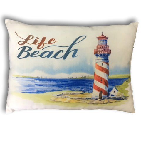 "Decorative Throw Pillow Cover - Banberry Designs Nautical Beach Theme Small Accent Pillow Cover - Lighthouse - 12 1/2"" X 8 3/4"""