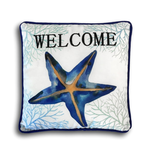 "Decorative Nautical Pillow - Blue Starfish Welcome Pillow - 10 1/2"" X 10 1/2"""