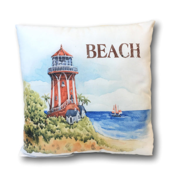 "Lighthouse Pillow Cover - Banberry Designs Nautical Beach Cushion Cover - Light House and Water Design - 14 3/4"" X 14 3/4"""