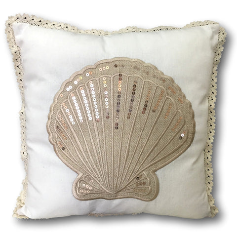"Sea Shell Pillow Cover - Banberry Designs Nautical Beach Cushion Cover - Seashell Design with Sequins - 14 3/4"" X 14 3/4"""