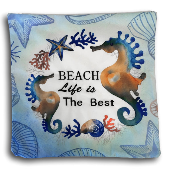 "Sea Horse Decorative Pillow Cover - Banberry Designs Nautical Cushion Cover - Beach Life is Best Design with Seahorses - 14 3/4"" X 14 3/4"""