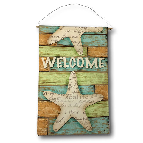 "Star Fish Flag - Banberry Designs Nautical Beach Banner - Welcome and Starfish Design - 21 1/4"" X 13 3/4"""