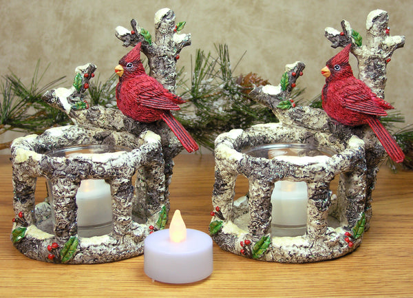 Cardinal Candle Holders - Set of 2 Red Cardinals Sitting on Birch Branches with 2 White Flameless Tealight Candles Included - Cardinal Decorations