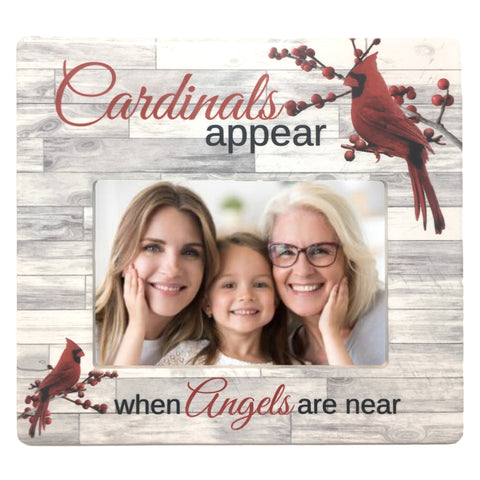 When Cardinals Appear Angels are Near - 4 X 6 Memorial Picture Frame White Barnwood Like Background and Red Cardinals in Berry Branches
