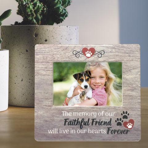 Pet Memorial Frame - The Memory of Our Faithful Friend Will Live in Our Hearts Forever - Pawprint and Heart Design - 4 X 6 Picture Opening