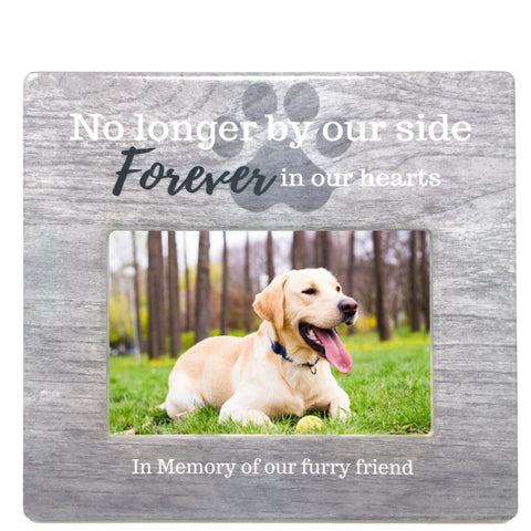 Pet Loss Memorial Frame - No Longer by My Side Forever in My Heart Loving Sentiment in Memory of Our Furry Friend - 4 X 6 Inch Opening