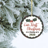 Our First Christmas as a Family of 3 Christmas Ornament - Ceramic Disk Buffalo Plaid Red and Green Holly Berries